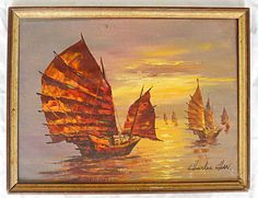 "Junks in an orange fiery sunset. Signed, lower right, "" Charles Chan "". un chien mouillé. Orange Painting, Seascape Paintings, Chinese, Boat, Sunset, The Originals, Burnt Orange, Antiques, Asian"
