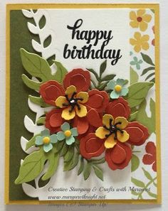 Botanical Garden Birthday using Stampin' Up Botanical Blooms Stamp Set, Botanical Builder Framelits Dies and Botanical Gardens Designer Series Paper