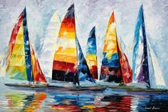 "Royal Regatta — PALETTE KNIFE Contemporary Seascape Sailing Oil Art Painting On Canvas By Leonid Afremov - Size: 36"" x 24"" (90 cm x 60 cm)"