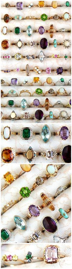 Vintage & antique gold rings showcasing gorgeous gemstones, including: opal, amethyst, agate, aquamarine, turquoise and more! View Maejean Vintage's entire ring collection at: https://www.etsy.com/shop/MaejeanVintage?ref=hdr_shop_menu&section_id=7131651