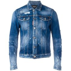 Dsquared2 heavily distressed jean jacket ($895) ❤ liked on Polyvore featuring men's fashion, men's clothing, men's outerwear, men's jackets, blue, mens punk jacket, mens distressed denim jacket, mens blue jacket, mens distressed leather jacket and mens blue jean jackets