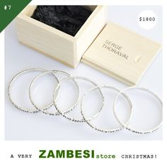 """#7 selected by LaniSays! """"I'd choose the Serge Thoroval bracelet set! Love the wooden box that comes with them too!"""" Serge Thoraval '5 rows bracelets' are available in all ZAMBESI stores and online at www.ZAMBESIstore.com x Serge Thoraval, Bracelet Set, Wooden Boxes, Floating Nightstand, The Row, The Selection, Rings, Christmas, Navidad"""