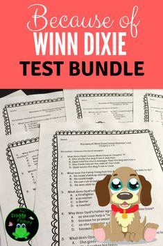 Looking for a great book for guided reading, shared reading, or literacy circles? Because of Winn Dixie is a great book for any of them! This is a test bundle of vocabulary and comprehension tests in multiple-choice format to assess for understanding. Reading Resources, Reading Activities, Teaching Reading, Guided Reading, Reading Books, Fun Activities, Learning, Reading Stations, Reading Groups