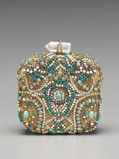Marchesa Handbags Betty Embroidered Box Clutch