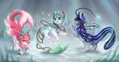 Flutterphin (closed) by Kakiwa on DeviantArt : Nekoi Auction (Closed) by Kawiku on DeviantArt Cute Fantasy Creatures, Mythical Creatures Art, Cute Creatures, Magical Creatures, Cute Animal Drawings, Kawaii Drawings, Cute Drawings, Wolf Drawings, Pet Anime