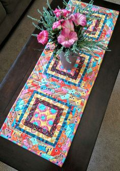 Boho Chic Table Runner, Bohemian, Global,  Kaffe Fassett, Farm House, Rural, Kitchen Linens, Spring Decor, One of a Kind, Teenager Decor by LittleWheelerQuilts on Etsy