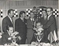 'Big' Bill France, seated right, endorsed George Wallace, seated left, in the 1972 Democratic presidential campaign. Standing, from left are Red Farmer, Donnie Allison, Bo Anthony, Bobby Allison and Bob Harmon. The photo is from the Frank Bird and Susan Bird Jenkins Collection of the Alabama Auto Racing Pioneers section on Fotki.