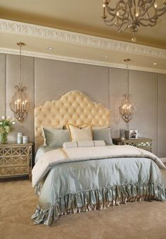 27 Creative Ways To Decorate Fantastic Feminine Glam Bedroom (silver upholstered wall; molding on slanted ceiling area over bed)