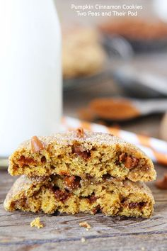 Pumpkin Cinnamon Cookies on twopeasandtheirpod.com The BEST pumpkin cookies you will ever eat! #pumpkin #cookies