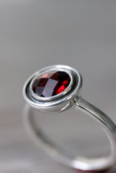 Garnet Ring in Sterling Silver RIng  Halo Ring in by onegarnetgirl, $168.00