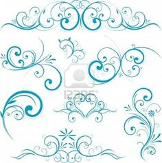 blue swirl design ornaments Stock Photo