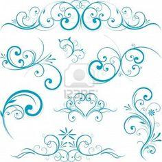 blue swirl design ornaments Stock Photo