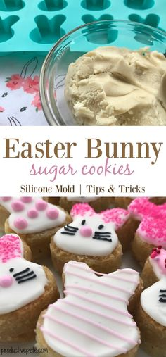 A new twist on making Easter Bunny Sugar Cookies! These are made using a silicone mold & the end result is a two-bite decorated Easter Bunny Cookie that will please your kids & a crowd! Perfect as an Easter Party treat or snack! #Easter #Easterbunny #Eastercookies #Eastertreats #springcookies