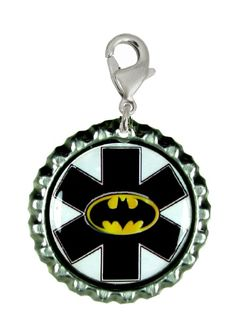 Dark Knight zipper pull!! How cool! has the medical symbol on it if your child has medical needs so a medical responder can help him right away. They engrave his needs on the back!!