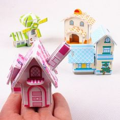 4 house/lot Creative 3D jigsaw puzzle four house building children Construction Educational Toys for kids and girls baby gifts