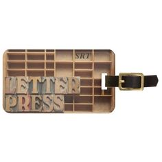 Letterpress word on type case tag for luggage #luggagetag, #travelbagtag, #letterpress, #woodtype, #typography