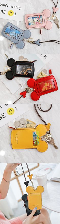 Women Cute Animal Shape Card Holder Wallet Purse Neck Bag