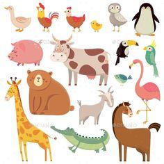 Buy Baby Animal Cartoons by tartila on GraphicRiver. Baby cartoons wild bear, giraffe, crocodile, bird and domestic animals. Cute Cartoon Animals, Baby Cartoon, Cute Baby Animals, Jungle Animals, Cartoon Giraffe, Funny Giraffe, Funny Animal, Wild Animals, Happy Animals