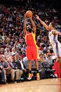 FEBRUARY 20: James Harden #13 of the Houston Rockets shoots a three-pointer