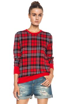Equipment|Shane Scholarly Plaid Wool Sweater in Strawberry Red Multi