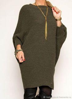 2020 Frauen Wintermode Strickkleid Khaki Short Boat Neck Bat Sleeve Pattern - My CMS Gilet Long, Crochet Wool, Stylish Outfits, Fall Fashion Outfits, Winter Mode, Knitwear Fashion, Knit Dress, Pullover Sweaters, Knitting Patterns