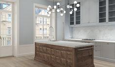 www.jeysenolesen.se © : kitchen design, stockholm : blue kitchen w merchants counter as island
