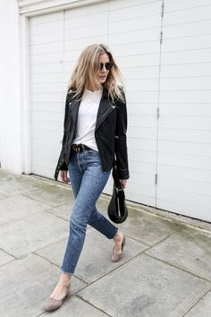 Biker Jacket + Plain Tee + Faded Jeans + Block Heeled Pumps