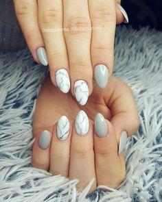 Marble nails White nails, grey nails, marmur nail art, glamour nails, style nails, design nails