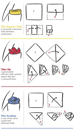 The square fold for pocket squares http://magazine.harryrosen.com/images/000/001/000001816.png/How-to-fold-pocket-squares.png