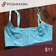 Free People Balconette Bra Robin's egg blue bralette with underwire. 7 eye-hook closure in front. Super sexy. Worn a couple times. Good for small A or B cups Free People Intimates & Sleepwear Bras