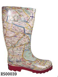 Women's Map Print Rubber Wellington Boots
