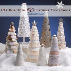 Gorgeous tabletop Christmas cones! Make them all on CraftsnCoffee.com.