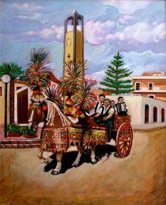 Sagra della Vendemmia a Pedalino tecnica olio su tela 60x80cm