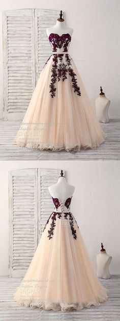 Burgundy sweetheart tulle long prom dress, burgundy evening