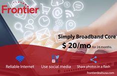 Choose Frontier TV, Internet and phone bundles with free installation and premium channel of your choice free for 12 months. Internet Plans, Internet Providers, Share Photos, 12 Months, Core, Channel, Social Media, Good Things, How To Plan