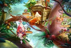 """close up of game background for Pixie Hollow. the """"post office"""" is mine; most of the rest is Silver Tree Media's creation"""