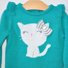 Gymboree Sweater Girls 2T Teal W Gray Cat Kitten Pullover New #Gymboree #Pullover #Everyday