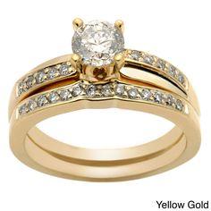 Auriya 14k Gold 1ct TDW Round Diamond Bridal Ring Set (H-I, I1-I2), Women's, Size: 5, White H-I