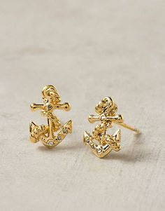 REVEL: Gold Anchor Earrings from our Nautical Navy + Blush wedding inspiration! $19.95