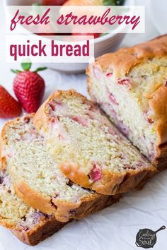 Tis fresh strawberry quick bread is so easy to make and … Fresh Strawberry Bread! Tis fresh strawberry quick bread is so easy to make and so delicious. It's perfect for breakfast, team, or even dessert Quick Bread Recipes, Baking Recipes, Dessert Recipes, Cleaning Recipes, Party Desserts, Free Recipes, Bon Dessert, Dessert Bread, Fruit Dessert