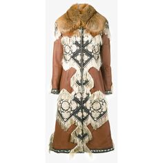 ALEXANDER MCQUEEN Shearling & Fox Fur Coat with Tapestry Embroidery (€7.730) ❤ liked on Polyvore featuring outerwear, coats, long sleeve coat, alexander mcqueen coat, tapestry coat, embroidered coat and sheep fur coat