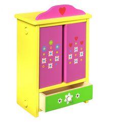 Puppenschrank, bunt. Schrank mit Spiegeln auf den Innenseiten der Türen und einer Schublade. Inklusive 4 bunten Kleiderbügeln für Puppenwäsche. Dekorative Aufbewahrung für Puppenkleider und mehr. ca. 24 cm x 36 cm