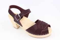 Lotta From Stockholm : Womens High Heel Peep Toe Wooden Clogs in Aubergine Leather