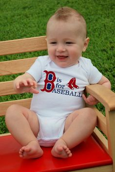 B' is for BASEBALL Baby BODYSUITS, Tees, Infant, Newborn, Toddler, Kids, Baby Shower, Sports, Homerun, Twins, Preemie, Birthday Party Favor. $14.00, via Etsy.