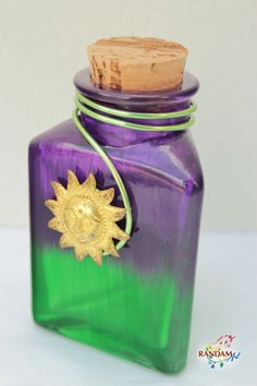 Painted Glass Bottle Reed Diffuser Purple and Green by RandamArt, $16.99