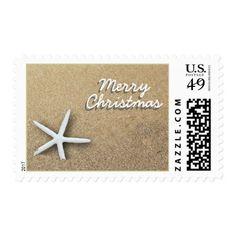Beach Sand Starfish Merry Christmas Postage Stamp
