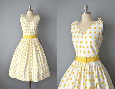 Vintage 50s Dress // 1950s White Cotton Piqué Dress by OffBroadwayVintage