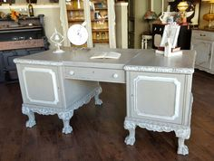 1940's Executive Desk finished in Cali Taupe and White Linen, distressed and Matte Protective Finish. #PureHomePaints #PiecesofTimeFF #MyPaintedLife #PickPaintProfit