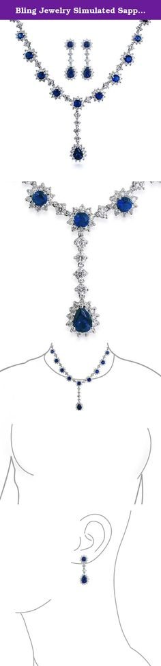 Bling Jewelry Simulated Sapphire CZ Necklace Earring Set Rhodium Plated. Our simulated sapphire CZ wedding necklace set is just the something blue you have been looking for to wear on your wedding day. Made in a design to flatter most necklines, this September birthstone jewelry is stylish and glam. The matching CZ blue earrings complement the look of this bridal jewelry perfectly.