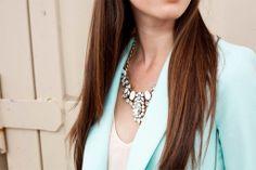 Statement necklace and blue blazer